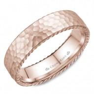 CrownRing wedding band in rose gold with a hammered finish and rope detailing.