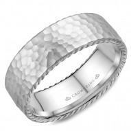 CrownRing wedding band with a hammered finish and rope detailing.
