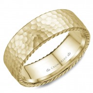 CrownRing wedding band in yellow gold with a hammered finish and rope detailing.