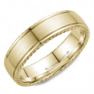CrownRing wedding band in yellow gold with brushed center and rope detailing.