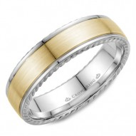 CrownRing wedding band in white gold with yellow gold center and rope detailing.