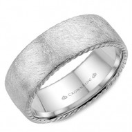 CrownRing wedding band with a diamond brushed finish and rope detailing.