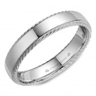 CrownRing wedding band in white gold with a polished finish and rope detailing.