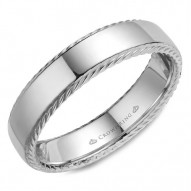 CrownRing wedding band with a polished finish and rope detailing on the sides.