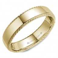 CrownRing wedding band in yellow gold with a polished finish and rope detailing.