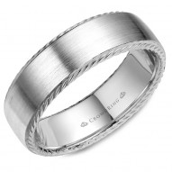 CrownRing wedding band in white gold with rope detailing on the edges.