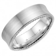 CrownRing wedding band in white gold with brushed finish and rope detailing.