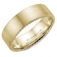 CrownRing wedding band in yellow gold with brushed finish and rope detailing.