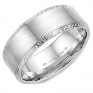CrownRing wedding band with brushed center and rope detailing on the edges.