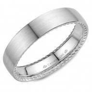 CrownRing wedding band in white gold with hidden rope detailing.
