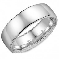CrownRing wedding band in white gold with a polished finish and hidden rope detailing.