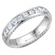 CrownRing wedding band with 10 princess cut diamonds and rope detailing on the sides.