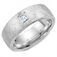 CrownRing white gold wedding band with a square cut diamond, rope edges and diamond brushed finish.