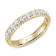 CrownRing wedding band with rope detailing and 10 diamonds.