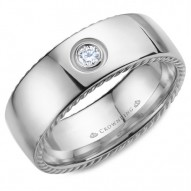 CrownRing wedding band in white gold with rope detaining on the sides and a round diamond.