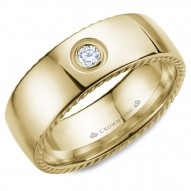 CrownRing wedding band in yellow gold with rope detaining on the sides and a round diamond.