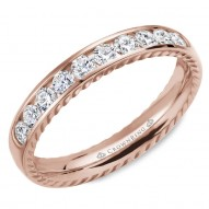 CrownRing wedding band in rose gold featuring 10 round diamonds and rope detailing on the sides.
