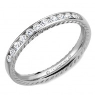 CrownRing wedding band featuring 11 round diamonds and rope detailing on the sides.