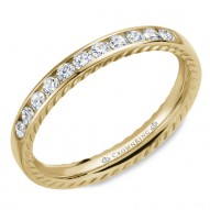 CrownRing wedding band in yellow gold featuring 11 round diamonds and rope detailing on the sides.
