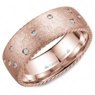 CrownRing wedding band in rose gold with 21 diamonds and rope detailing on the sides.