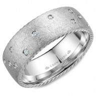 CrownRing wedding band in white gold with 21 diamonds and rope detailing on the sides.