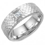 CrownRing wedding band in white gold with hammered finish, princess cut diamond and rope detailing on the sides.