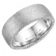 CrownRing stylish diamond brushed wedding band in white gold with 118 round diamonds on the sides.