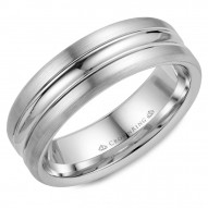 CrownRing white gold wedding band with a polished center and brushed sides.