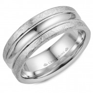 CrownRing wedding band in white gold with a polished center and diamond brushed edges.