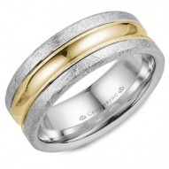 CrownRing wedding band in white gold with diamond brushed edges and yellow gold center.