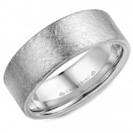CrownRing white gold wedding band with a diamond brushed finish.