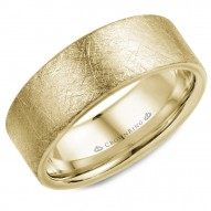 CrownRing yellow gold wedding band with a diamond brushed finish.