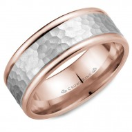 CrownRing rose gold wedding band with hammered white gold center.