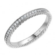CrownRing wedding band in white gold with 29 round diamonds and rope detailing.