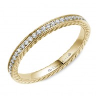 CrownRing wedding band in yellow gold with 29 round diamonds and rope detailing.