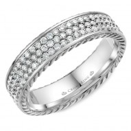 CrownRing wedding band in white gold with 85 round diamonds and rope detailing.