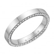CrownRing stylish polished wedding band in white gold with 96 round diamonds on the sides.