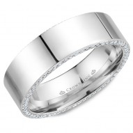 CrownRing stylish polished wedding band in white gold with 118 round diamonds on the sides.