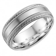CrownRing white gold wedding band with brushed center and milgrain detailing.