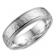 CrownRing white gold wedding band with a hammered center and textured edges.