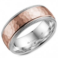 CrownRing white gold wedding band with a hammered rose gold center and textured edges.