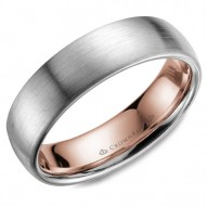 CrownRing white gold wedding band with a sandpaper finish and rose gold inlay.