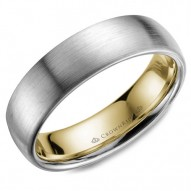 CrownRing white gold wedding band with a sandpaper finish and yellow gold inlay.