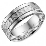 CrownRing white gold wedding band with a hammered center, line detailing and beveled edges.