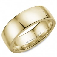 CrownRing yellow gold wedding band with a high polished finish.