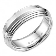 CrownRing white gold wedding band with line detailing on the knife edge.