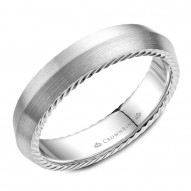 CrownRing wedding band in white gold with a knife edge and hidden rope detailing.