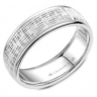 CrownRing textured white gold wedding band with polished edges.