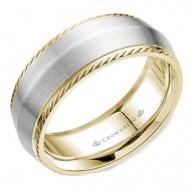 CrownRing wedding band in white and yellow gold with a knife edge and milgrain detailing.
