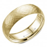CrownRing hammered yellow gold wedding band.